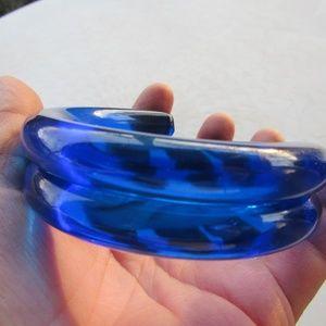 Vintage Neon Blue Bangle Bracelet